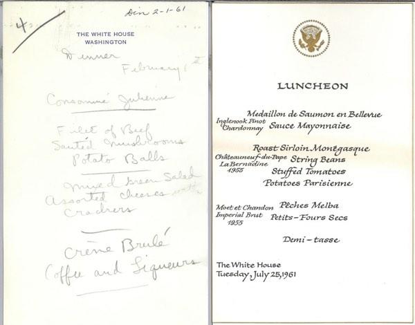 JF Kennedy sample menus