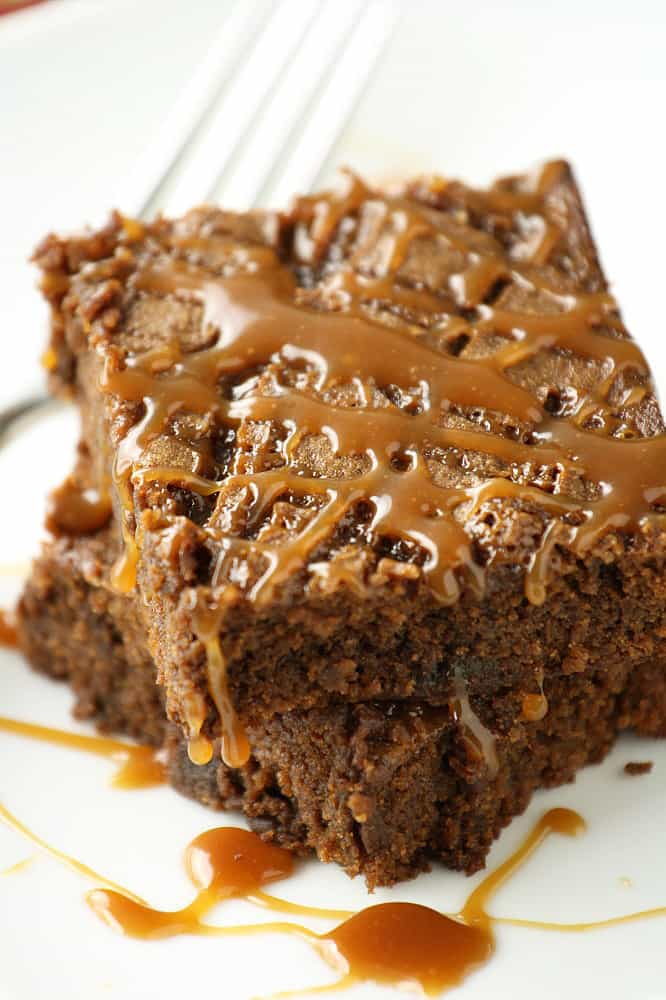 Caramel Mexican Chocolate Mesquite Brownies from No Gluten, No Problem